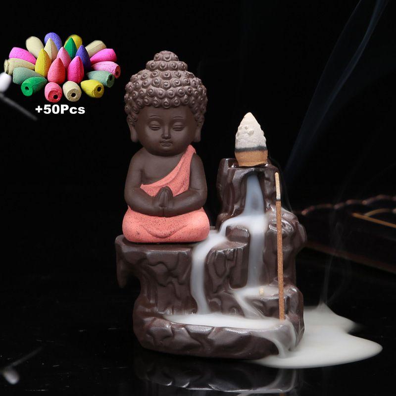 50Pc cônes d'encens + brûleur créatif décor à la maison le petit moine petit bouddha encensoir retour brûleur d'encens utilisation dans la maison de thé