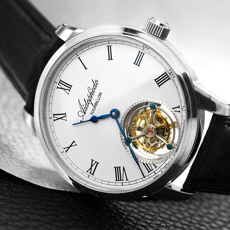 Mode Casual Aidophedo Tourbillon Mechanische Uhren männer Echte Krokodil Leder Echt Seagull Tourbillon ST8230 Mann Uhr