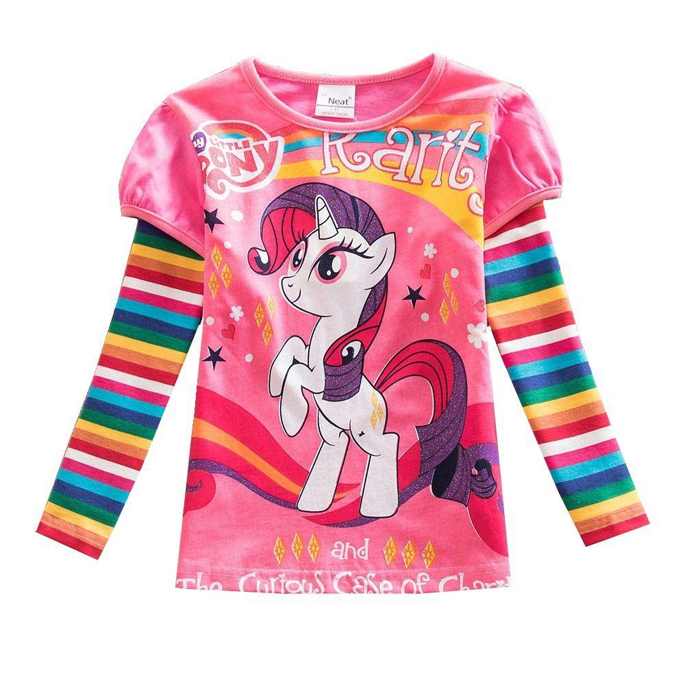 T-Shirt fille manches longues petit poney dessin animé bébé hauts en coton respirant vêtements pour enfants filles coton imprimé T-Shirt LH606