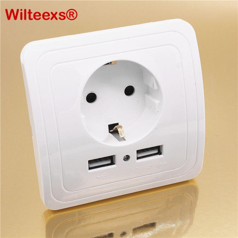 WILTEEXS double Port USB 5V 2A électrique chargeur mural adaptateur EU prise interrupteur puissance Dock Station de charge panneau de sortie blanc