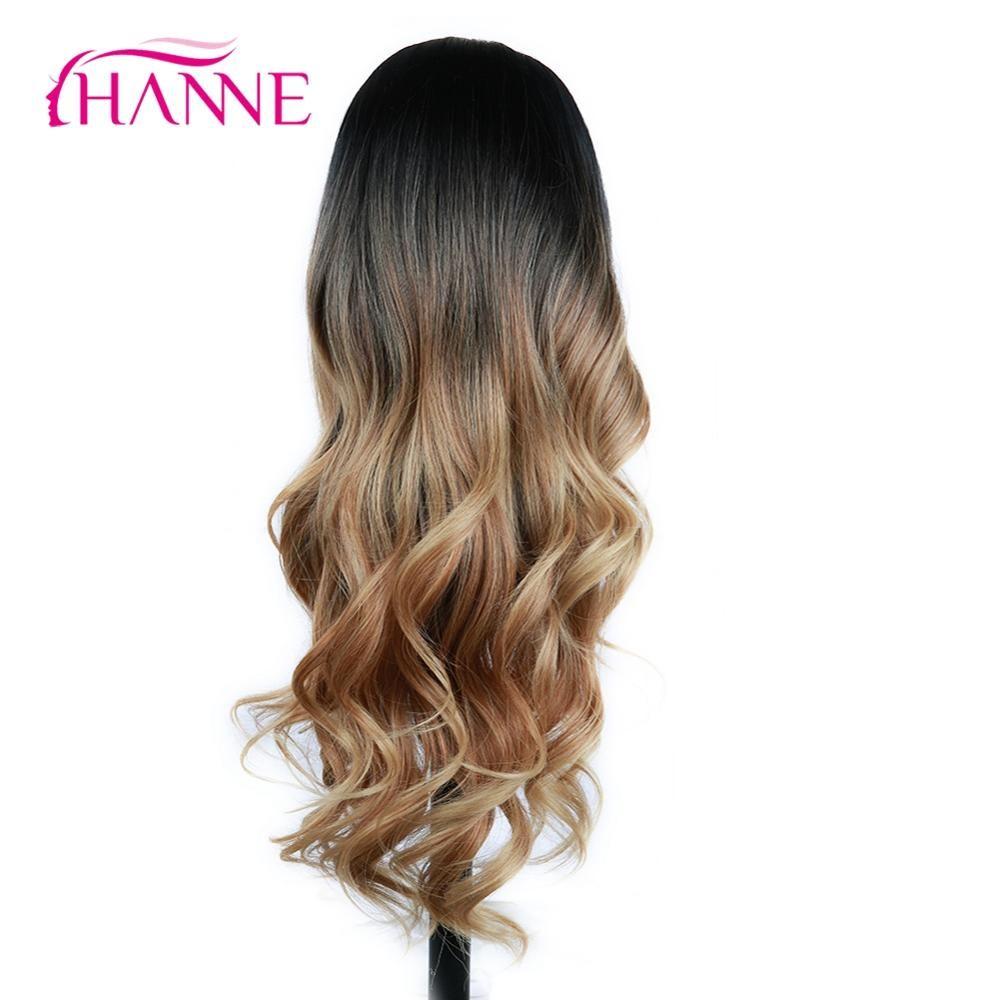 HANNE longues perruques synthétiques Ombre brun blond/gris haute densité résistant à la chaleur perruque ondulée pour noir/blanc femmes Cosplay/fête