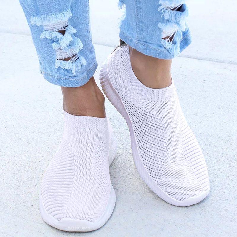 Femmes baskets femme tricoté vulcanisé chaussures décontracté sans lacet dames plat chaussure maille formateurs doux marche chaussures Zapatos Mujer