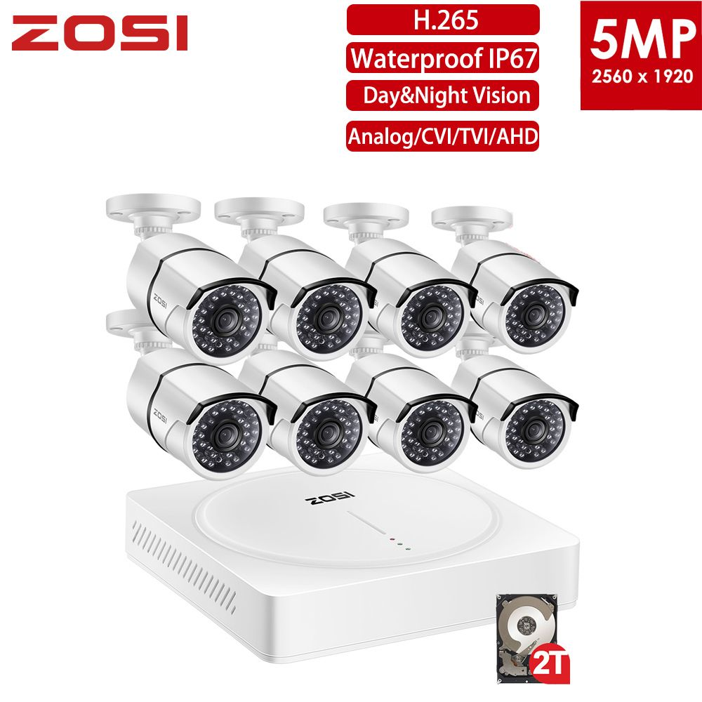 ZOSI 5MP CCTV Überwachung Sicherheit Kamera System 8 Kanal Video Nightvision DVR Kit Remote View Auf Telefon mit HDD