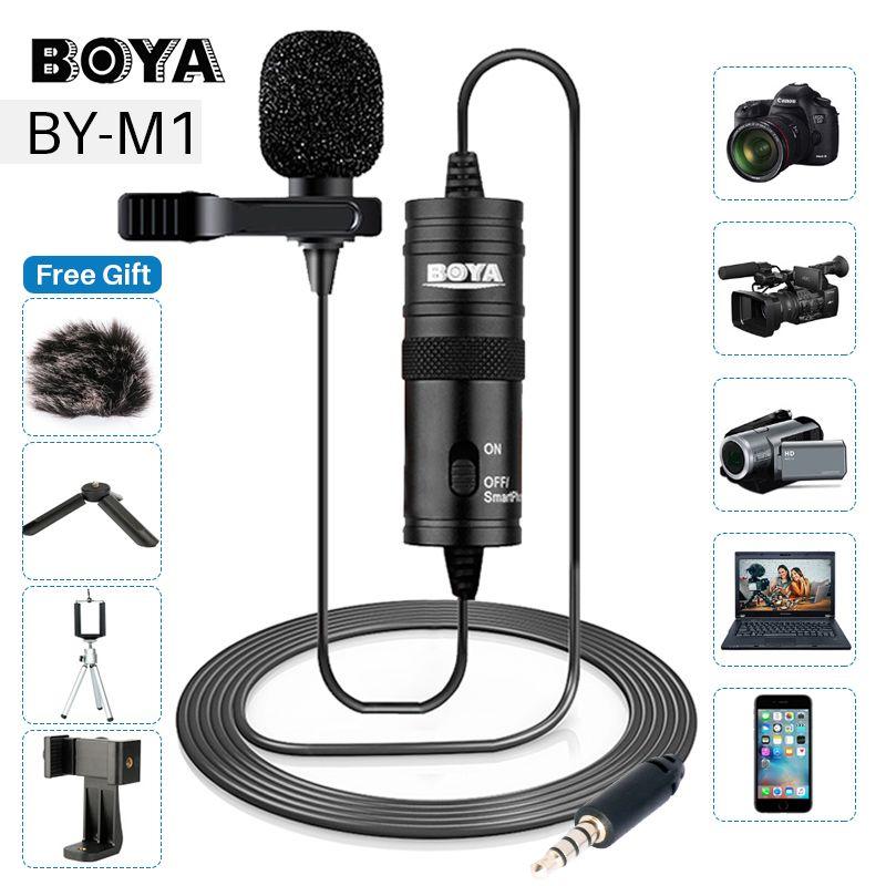 BOYA BY-M1 3.5mm Lavalier Microphone pour Canon Nikon DSLR caméscopes, microphone de Studio pour iPhone android téléphone Zoom H1N