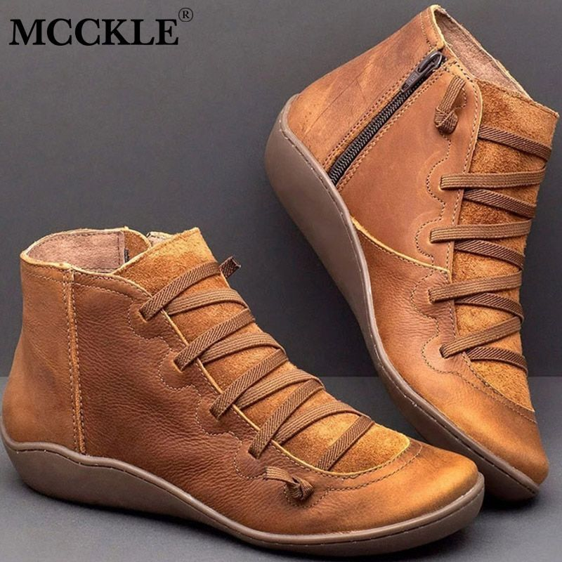 Women's PU Leather Ankle Boots Women Autumn Winter Cross Strappy Vintage Women Punk Boots Flat Ladies Shoes Woman Botas Mujer