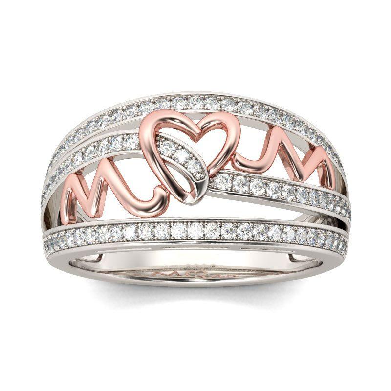 2019 nouveau amour maman or Rose couleur coeur anneaux pour les femmes brillant Zircon strass anneau bijoux fête des mères cadeau d'anniversaire