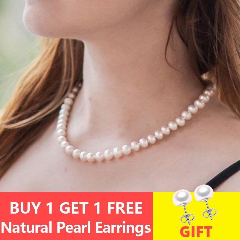 ASHIQI véritable collier ras du cou de perles d'eau douce naturelles 8-9mm blanc près de la perle ronde bijoux cadeaux pour les femmes