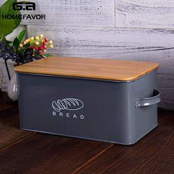Cajas de almacenamiento cubos de pan con tapa de tabla de cortar de bambú manijas de caja de aperitivos galvanizadas de Metal diseño de contenedores de cocina decoración del hogar