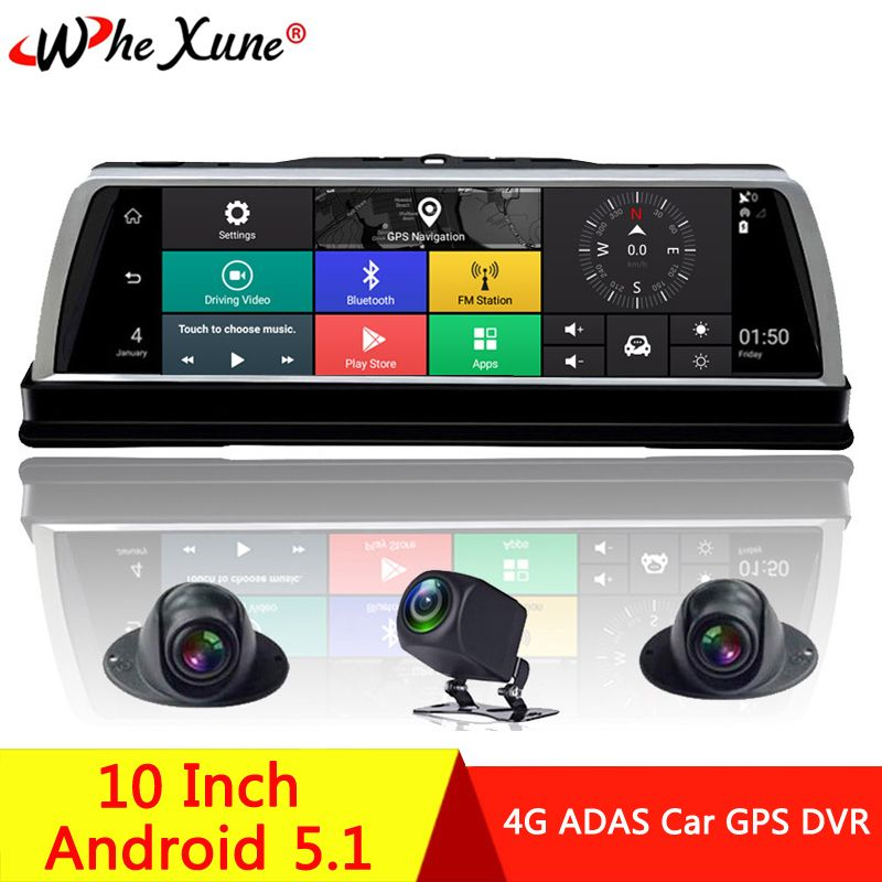 WHEXUNE 4 Kanal Android 5.1 WIFI Auto DVR Kamera 4G 10 IPS ADAS GPS Navigation Dash Cam FHD 1080P Video Recorder