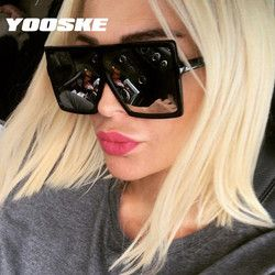 YOOSKE Black Oversized Sunglasses Women Men Retro Sun Glasses Female Male Big Frame Hip Hop Eyewear UV400