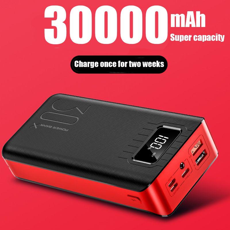 PowerBank 30000mah Batterie Externe PoverBank 2 USB LED Poverbank type-c Chargeur De téléphone Portable pour OnePlus Xiaomi