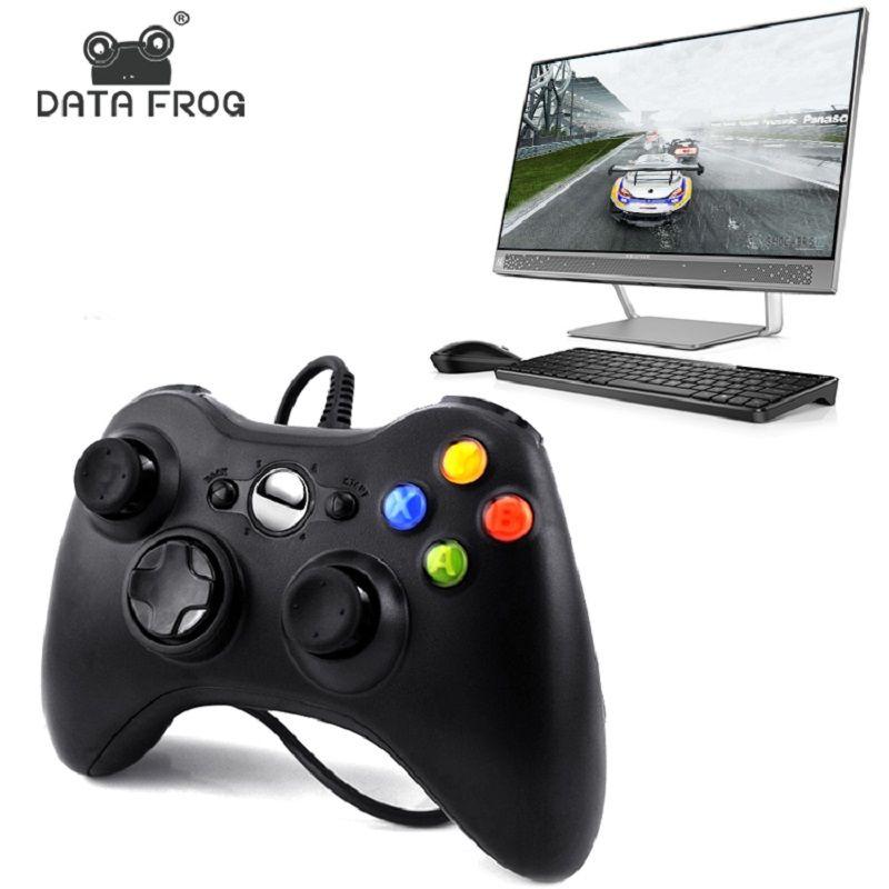Manette de Vibration filaire noir et blanc de grenouille de données avec le Joystick de contrôleur de jeu de câble d'usb pour des manettes de PC de haute qualité
