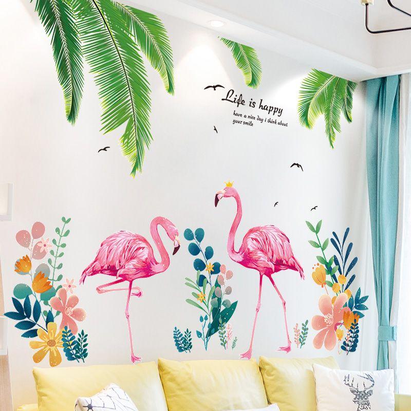 [SHIJUEHEZI] autocollants muraux feuilles de palmier PVC bricolage Flamingo animaux Stickers muraux pour salon cuisine bébé chambre décoration