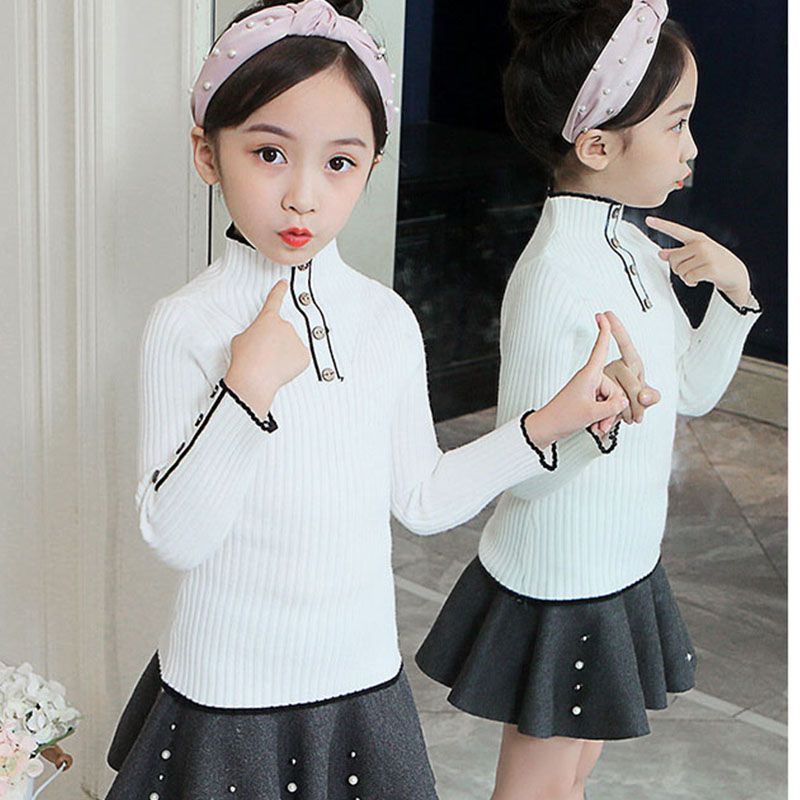 Knit Solid Turtleneck Sweater For Teenage Girls Knitting Long Sleeve Tops Clothing New 2019 Children School Pullover Outerwwears