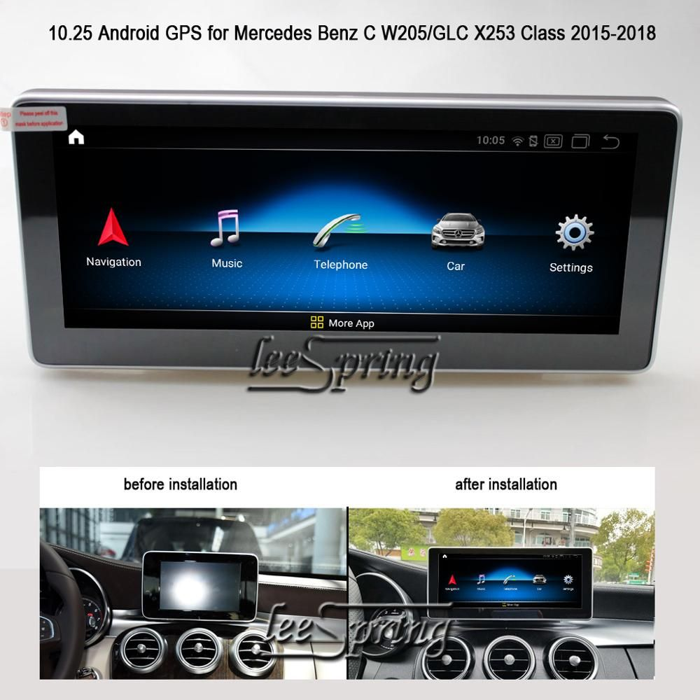 10,25 zoll Android 9.0 Touch Screen Car Multimedia Player für Mercedes Benz C W205/GLC X253 Klasse 2015-2018 auto GPS-Navigation