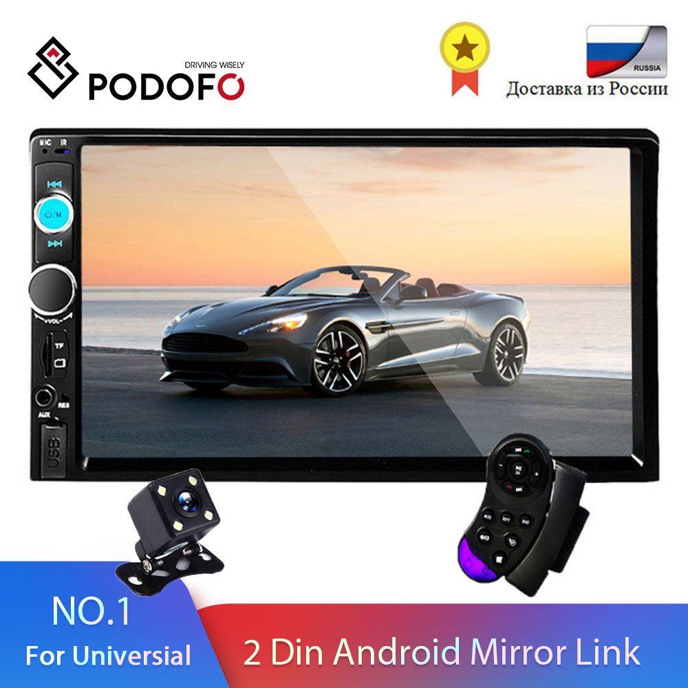 Podofo 2 din Autoradio 7 HD Autoradio lecteur multimédia 2DIN ecran tactile Auto audio voiture stéréo MP5 Bluetooth USB TF FM caméra