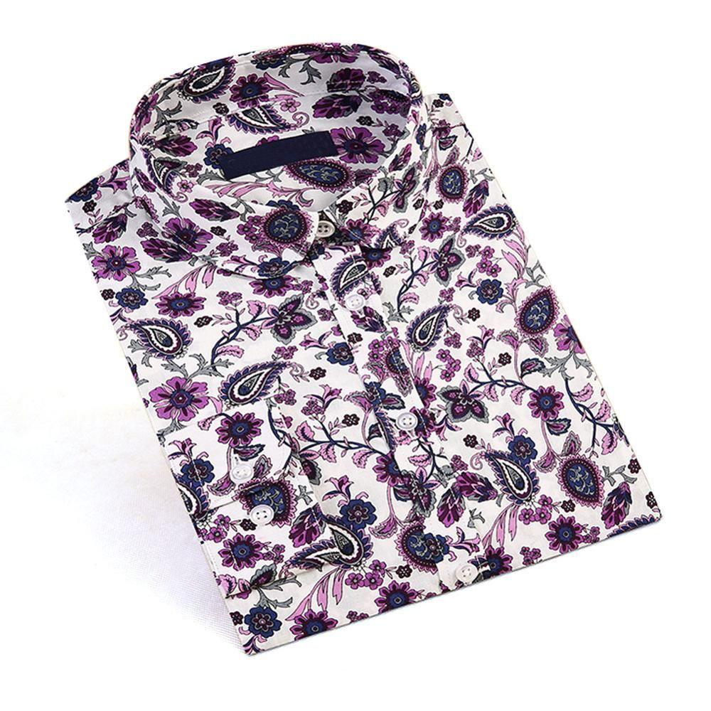 Dioufond nouveau femmes imprimé Floral Blouses coton chemises femmes Vintage col rabattu hauts dames travail à manches longues Blouse 2017