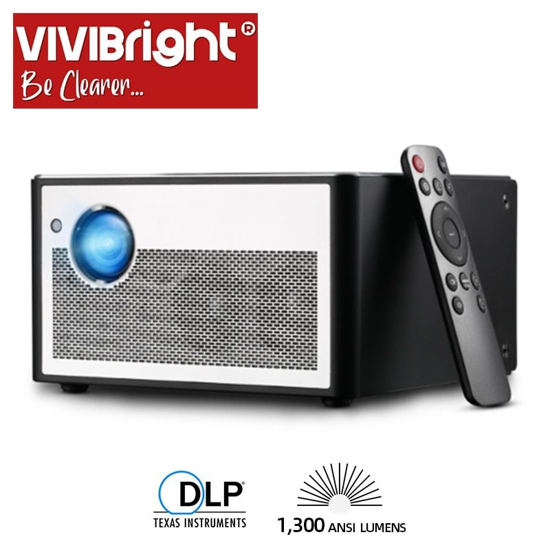 VIVIBRIGHT Smart Projektor H1, 1300 ANSI Lumen. Speicher: 2G + 16G. Android, WIFI, HD in. MINI LED Projektor. 1080P Heimkino
