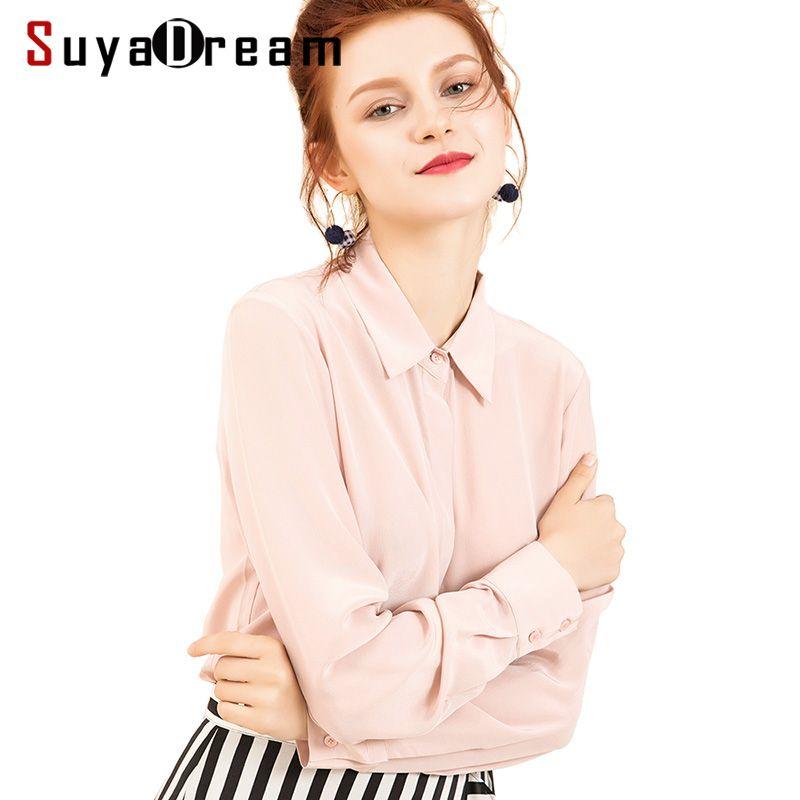 Femmes soie Blouse 100% réel soie crêpe solide à manches longues Blouses basique bouton bureau dame chemise 2019 blanc Blusas femininas