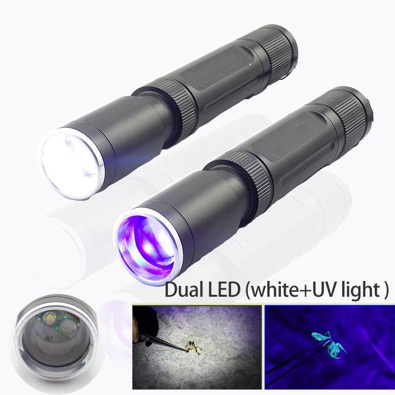 2 led violet blanc UV Ultra violet lampe de poche lumière Flash lumière noire Zoom torche lampe ultraviolette veilleuse pour la détection de l'argent