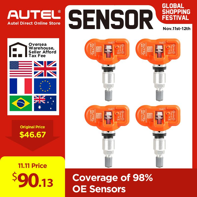 AUTEL MX-Sensor 433MHz oder 315 Mhz 4 teil/los Reifendruck Überwachung Universal-Automotive OE-Niveau Programm sensor