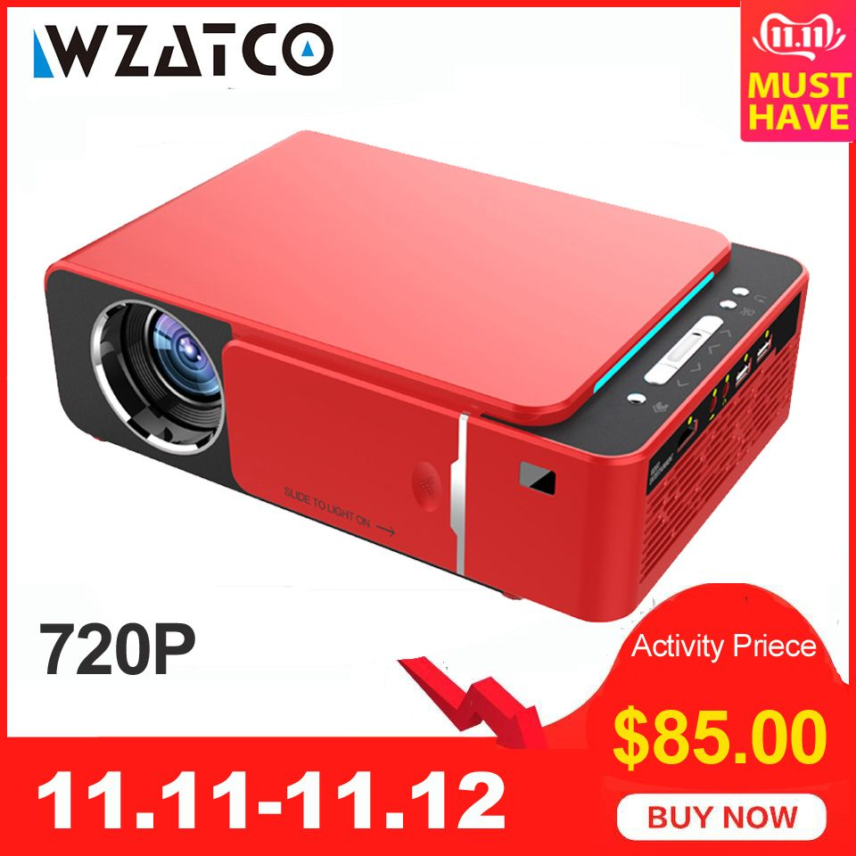 WZATCO T6 Android 9.0 WIFI Optional 2600lumen 720p HD Tragbare LED Projektor HDMI Unterstützung 4K 1080p Hause theater Proyector Beamer