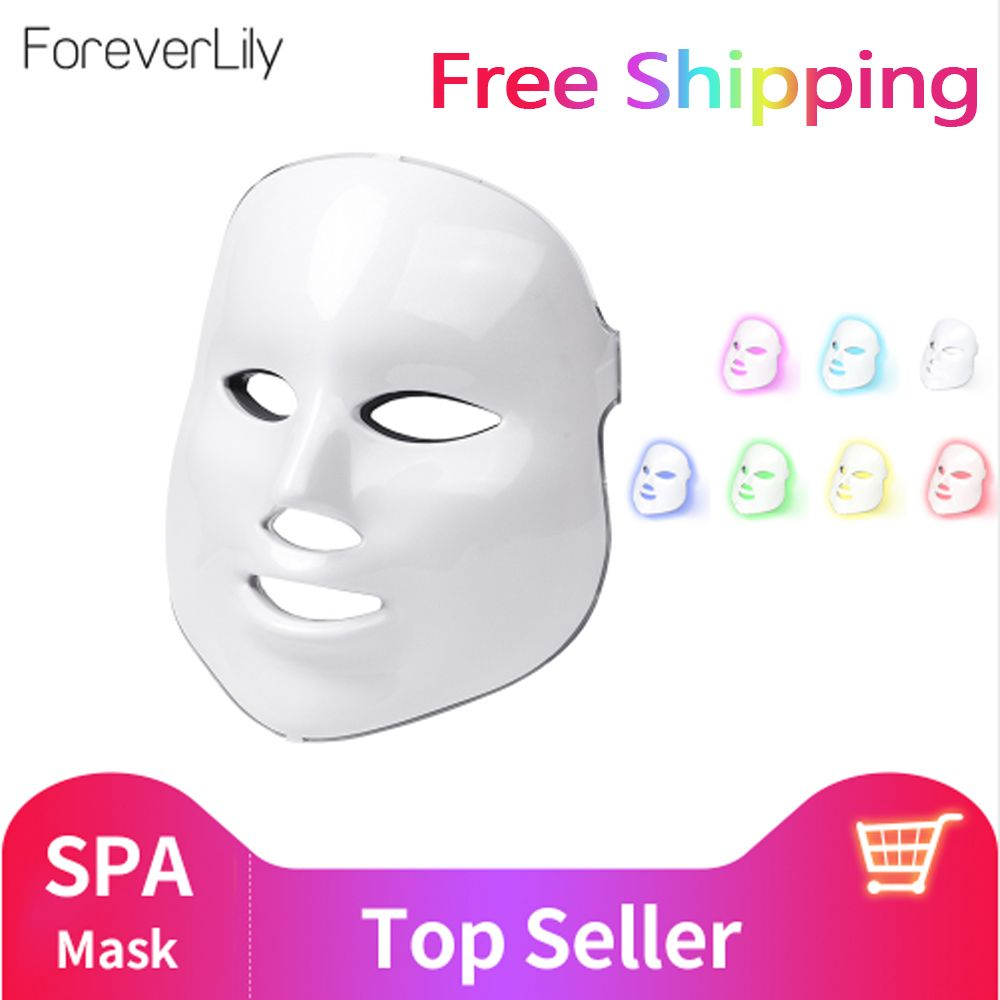 Foreverlily beauté LED photon masque Facial thérapie 7 couleurs lumière soins de la peau rajeunissement rides acné enlèvement visage beauté Spa