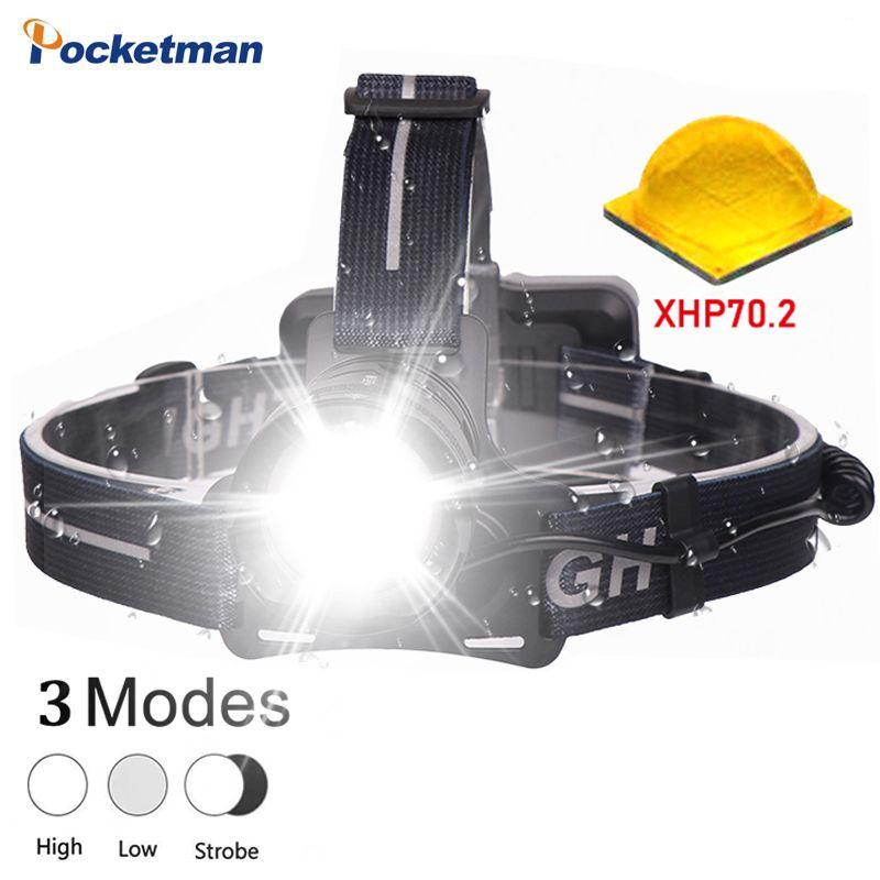 Die meisten helle XHP70.2 Led scheinwerfer wasserdicht angeln Taschenlampe Zoom scheinwerfer leistungsstarke kopf-lampe kopf licht laterne 18650
