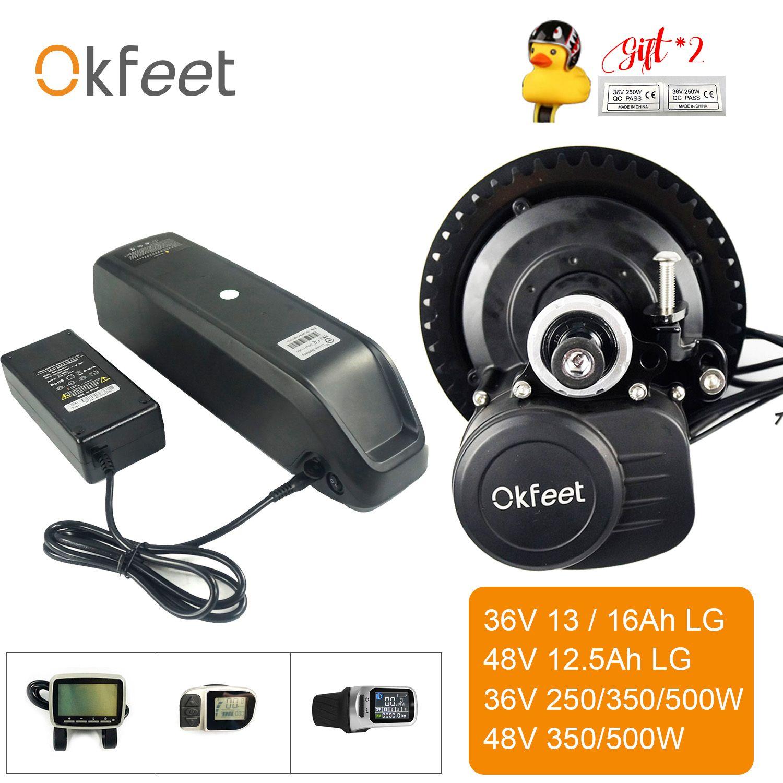 Okfeet Ebike Kit Mit Batterie 36V 250 W/350 W/500 W 48V 500W TSDZ2 midmotor Motor Mit XH18 VLCD5 VLCD6 LCD Display