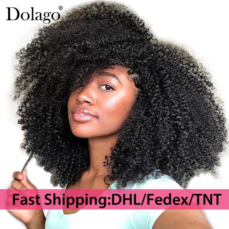 4B 4C Afro crépus bouclés Clip dans les Extensions de cheveux humains brésilien Remy cheveux 100% cheveux humains naturel noir Clip Ins paquet Dolago