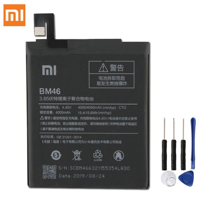 Batterie de remplacement d'origine XIAOMI BM46 pour Xiaomi Redmi Note 3 Note3 Pro Note3 Redrice Batteries de téléphone authentiques 4050mAh