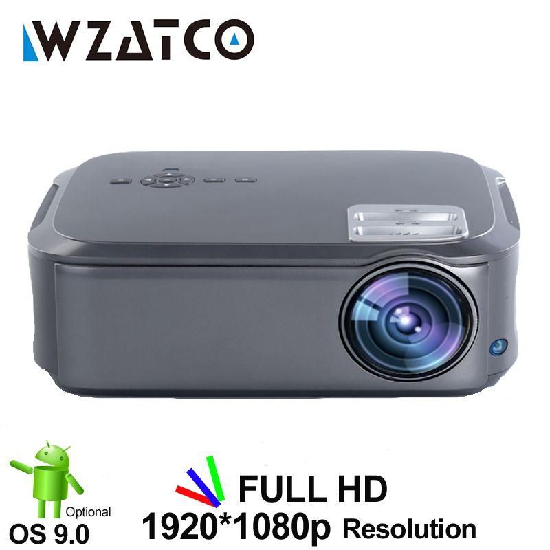 WZATCO T58 Full HD 1920*1080P Support AC3 4K vidéo en ligne Android 9.0 Wifi projecteur LED vidéo intelligente Proyector pour Home cinéma