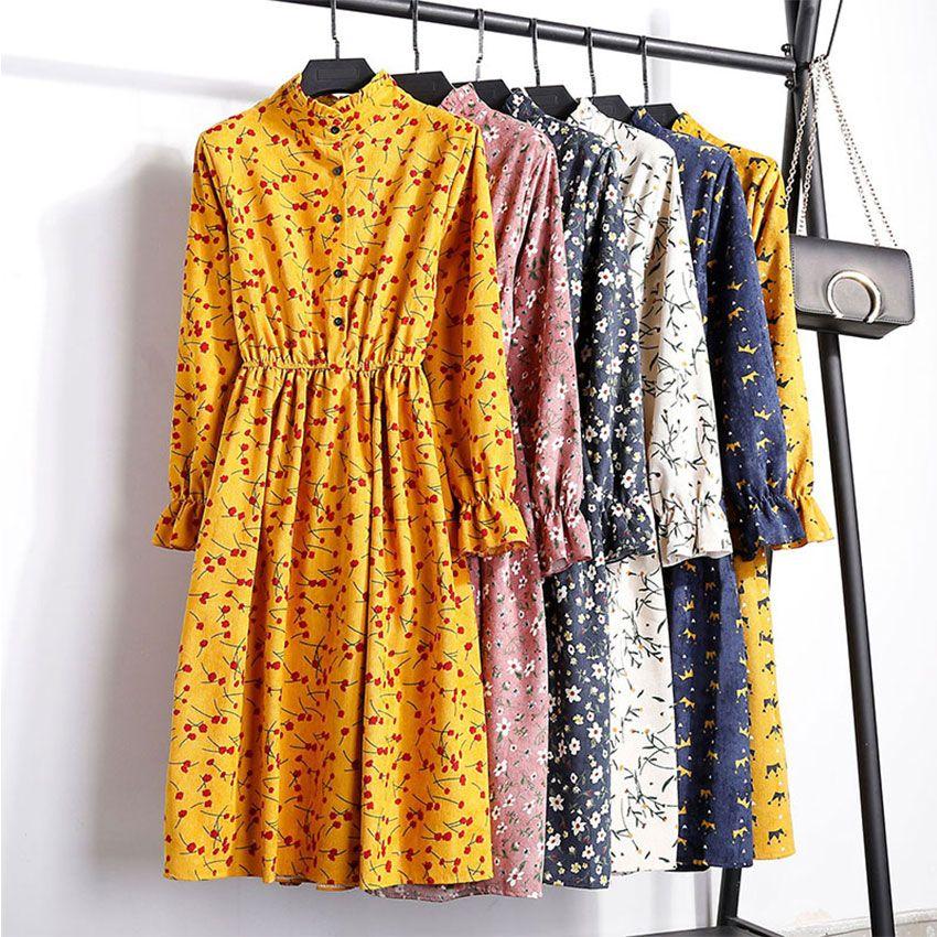 Velours côtelé papillon manches imprimer mi-longue robe femmes Vintage taille élastique robes multicolore femme mode Floral robe 2019