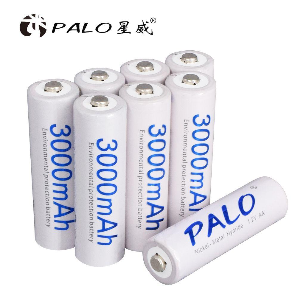 Batteries originales de batterie de Palo AA 1.2V AA 3000mAh Ni-MH batterie Rechargeable pré-chargée 2A Batteries pour le jouet d'appareil-photo