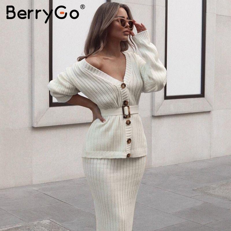 BerryGo deux pièces femmes tricoté robe ensemble élégant automne hiver robe pull costumes manches longues bouton ceintures pure jupe costume