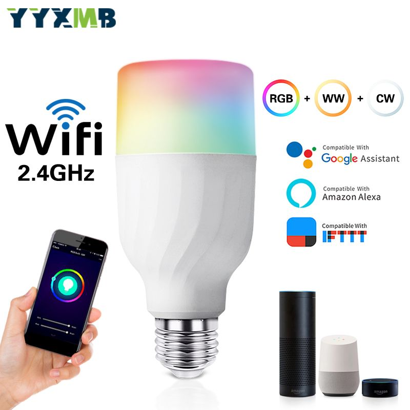 Ampoule WiFi intelligente YYXMB Compatible Amazon ECHO/Google Home/IFTTT RGB + WW + CW lampe à commande vocale à intensité variable WiFi LED
