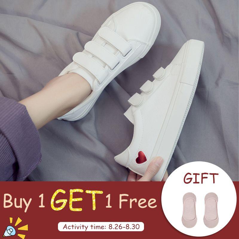 Femme cuir chaussures 2019 printemps nouvelle mode femmes chaussures décontracté haute plate-forme PU cuir coeur femmes décontracté blanc chaussures baskets
