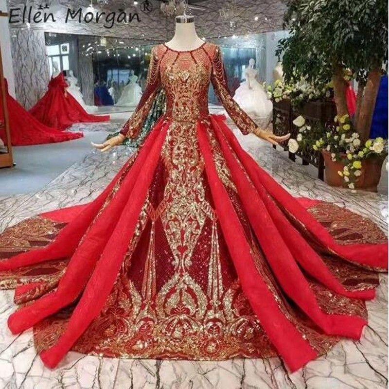Vintage Saudi-arabischen Burgurday Hochzeit Kleider 2019 Neue Luxus Gold Spitze Elegante Langarm Muslimischen Dubai Braut Ballkleid