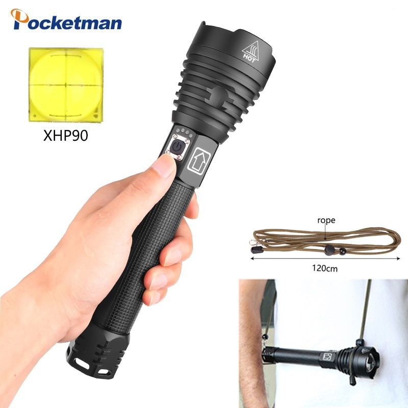 Höchste LM XHP90 LED lange-palette taschenlampe Camping 1,5 mal XHP70.2 leistungsstarke led-taschenlampe verwenden 26650 batterie rucksack taschenlampen
