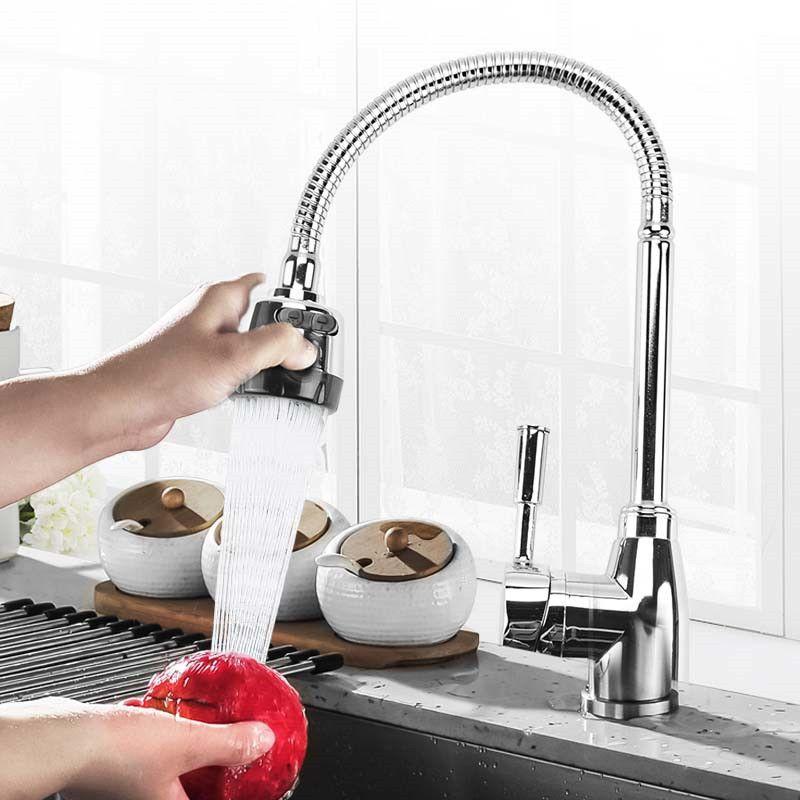 Cuisine 360 degrés rotatif bec mitigeur évier bassin robinet réglable en laiton massif tirer vers le bas mélangeur de pulvérisation pont monté