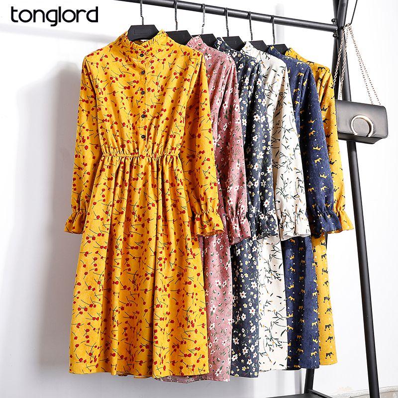 2019 nouvelle mode femmes automne hiver robes Vintage lâche col montant à manches longues imprimé Floral taille élastique robe en velours côtelé