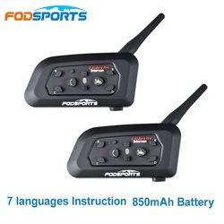 Fodsports 2 pcs V6 Pro Motorcycle Helmet Bluetooth Headset Intercom 6 Riders 1200M Wireless Intercomunicador BT Interphone