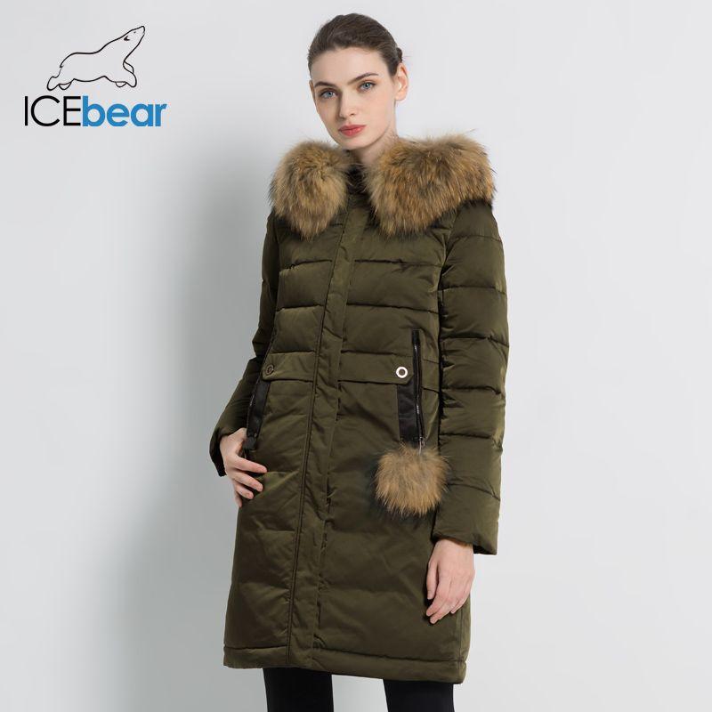ICEbear 2019 winter frauen starke warme mantel winddicht parka lange dünne jacke mit fell kragen marke kleidung mantel GWD18253