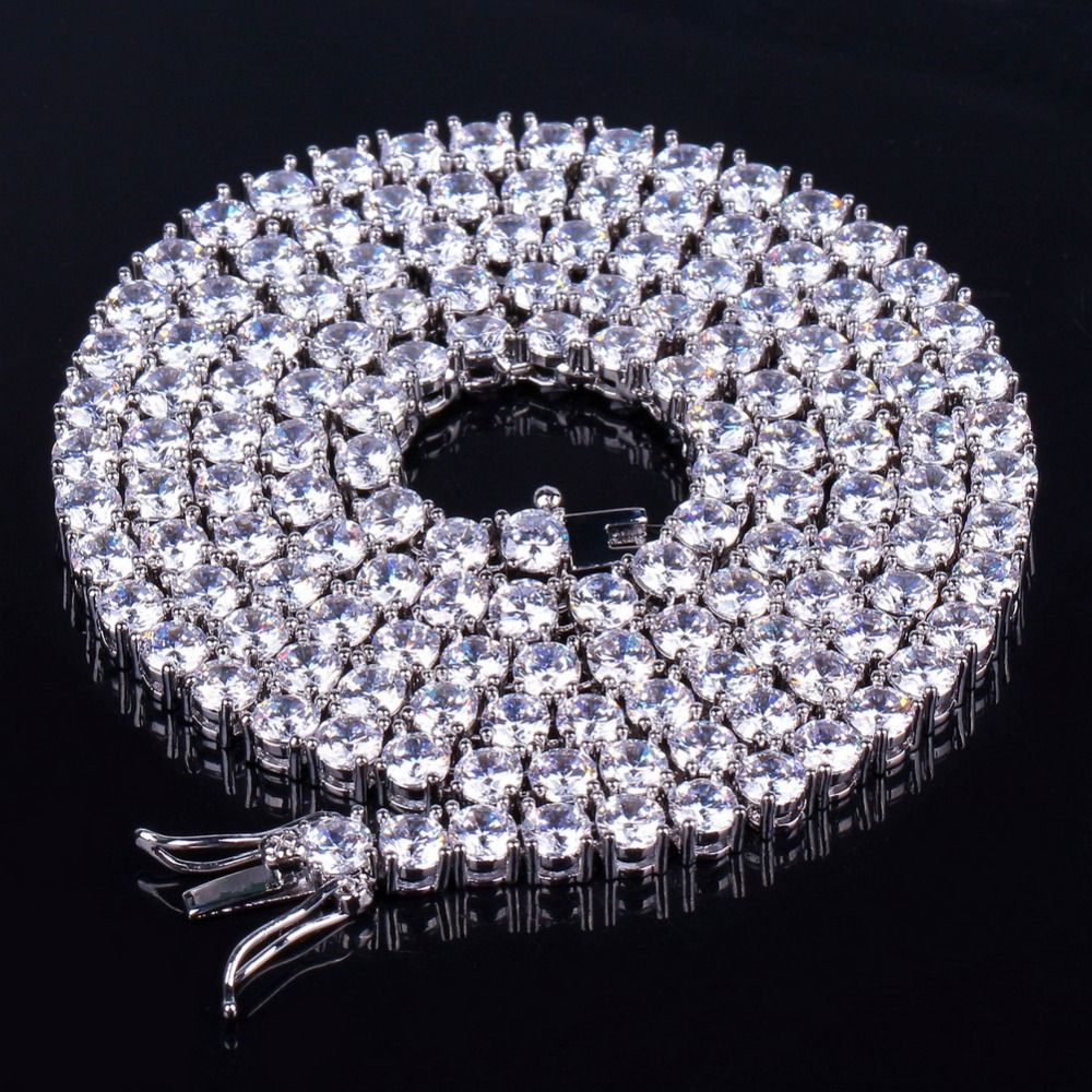 TOPGRILLZ 2.5mm-10mm Iced Out Bling AAA Zircon 1 Row Tennis Chain Necklace Men Hip hop Jewelry Gold Silver Rose Gold Charms