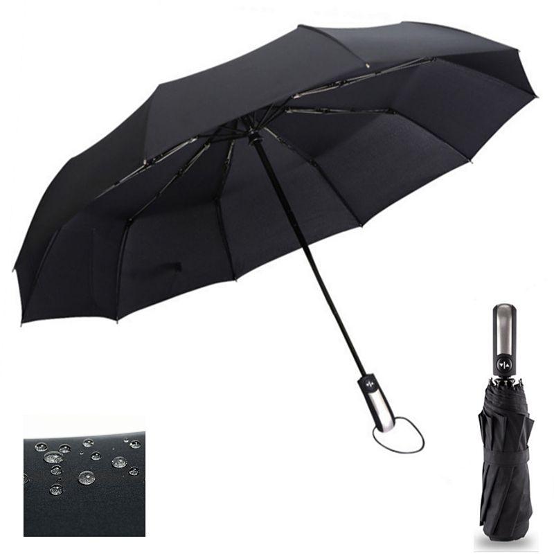 Résistant au vent trois pliant automatique parapluie pluie femmes Auto luxe grand coupe-vent parapluies hommes cadre coupe-vent 10K Parasol