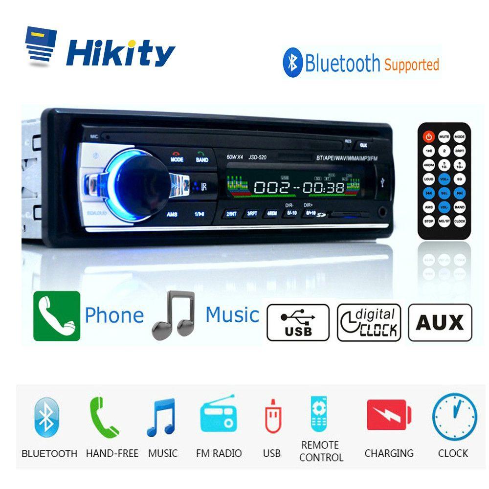 Hikity autoradio 12V JSD-520 Car Radio Bluetooth 1 din Car Stereo Player AUX-IN MP3 FM radio Remote Control for phone Car Audio