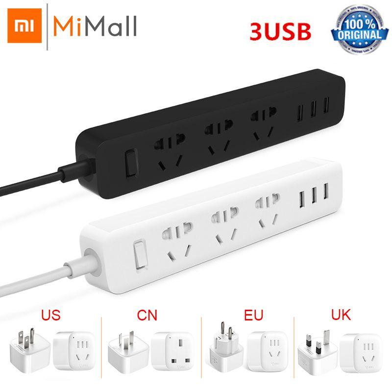Xiaomi Mijia Power Strip 1.8m(5.9ft) 3Sockets 10A 250V 2500W 3USB Port 5V 2.1A EU AU UK UA Plug Travel Plug Adapter Power Strip