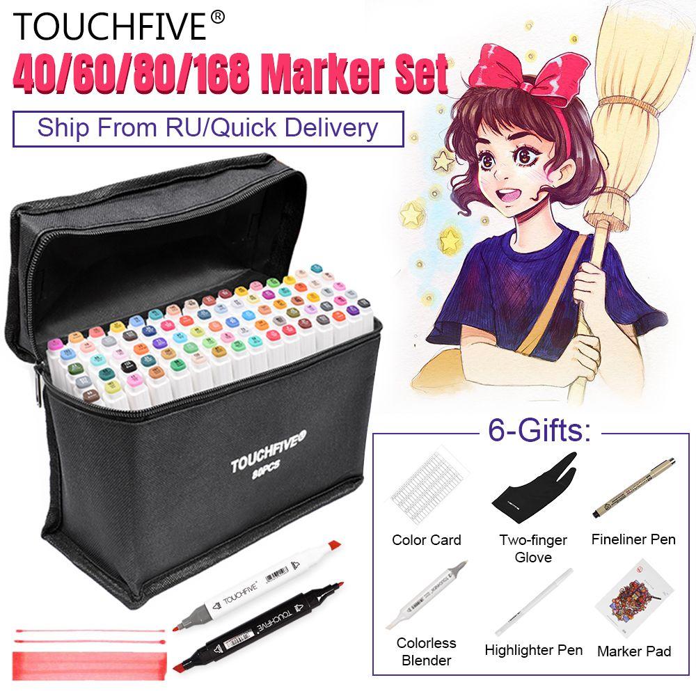 TouchFIVE marqueurs stylo ensemble 40/60/80/168 couleur Animation croquis marqueur double tête dessin Art pinceau stylos à base d'alcool avec 6 cadeaux