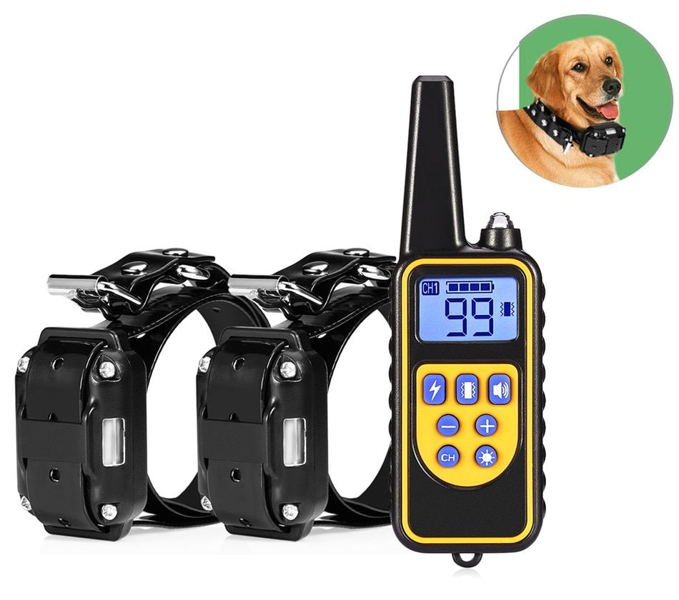 Electric Dog Training Collar Waterproof Rechargeable Dog Collar With Remote Control Receiver Pet Training Collar Dropshipping