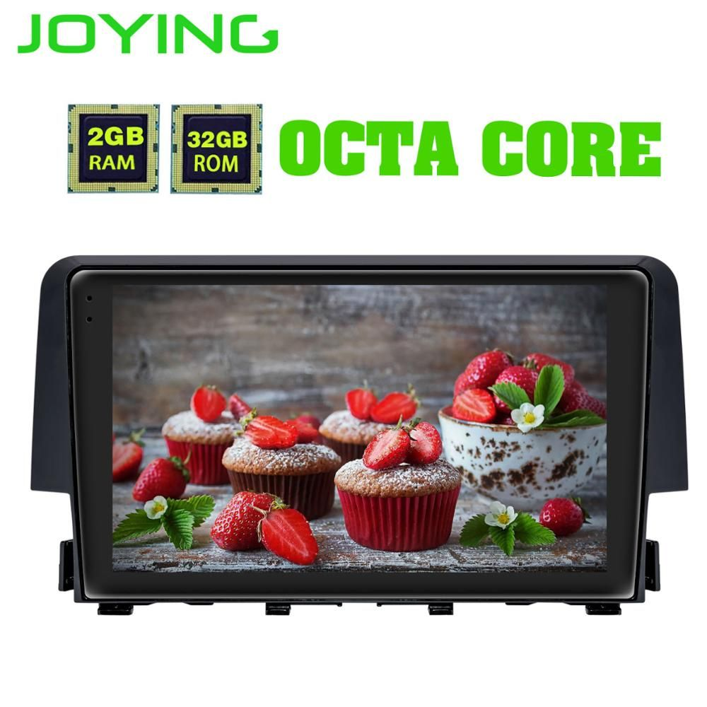 JOYING Android 8.1 2GB one din auto radio Octa Core GPS empfänger DSP Unterstützung split screen für Honda Civic 2016 2017 kopf einheit IPS